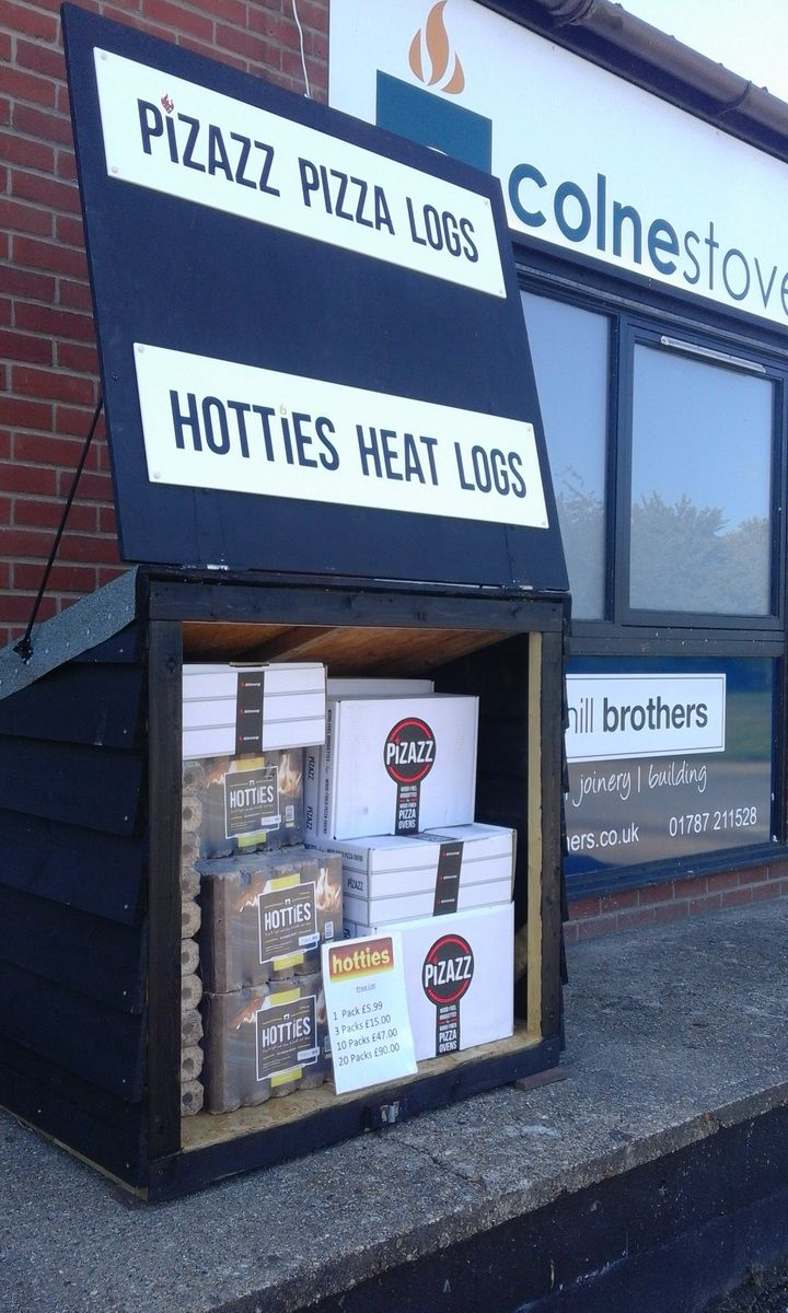 Hotties Heat Logs Suffolk. Pizazz Pizza Logs Suffolk. Always in stock. Call 01284 388188 and visit www.colnestoves.com.