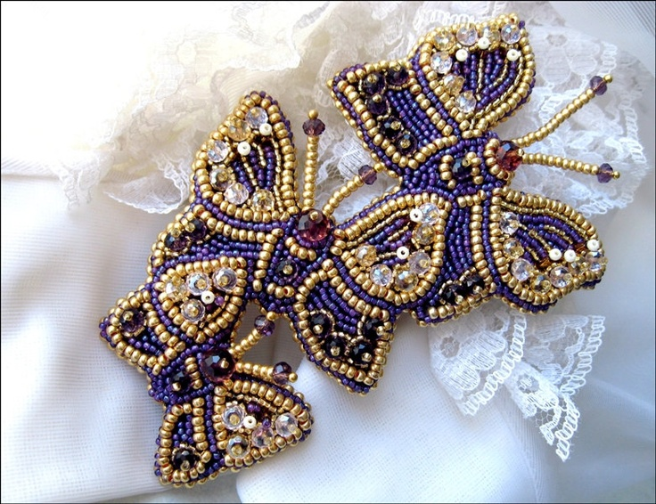 """Bead embroidered in purple and gold butterfly brooch """"Butterfly dance"""". $103.00, via Etsy."""