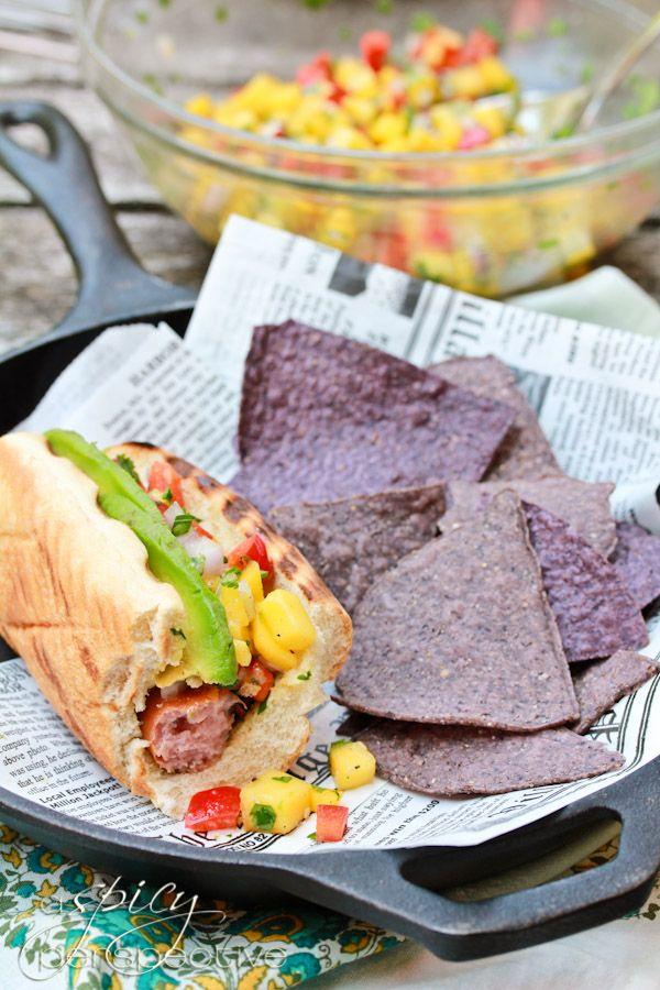 Gourmet Hot Dog Recipe - ASpicyPerspective.com http://www.aspicyperspective.com/2012/06/hawaiian-style-hot-dog-recipe-mango-salsa.html