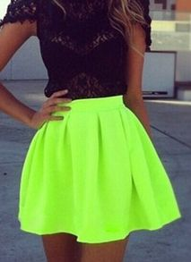 Neon Green Pleated Flare Skirt