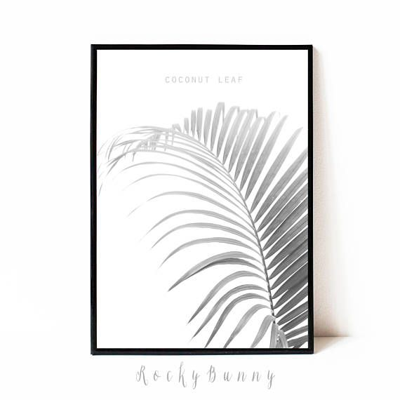 Black and white tropical leaf wall art poster printable palm