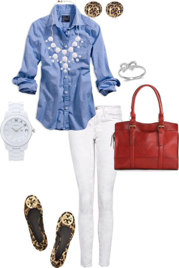 Casual chic! Chambray top, white jeans & accessories, leopard flats & red