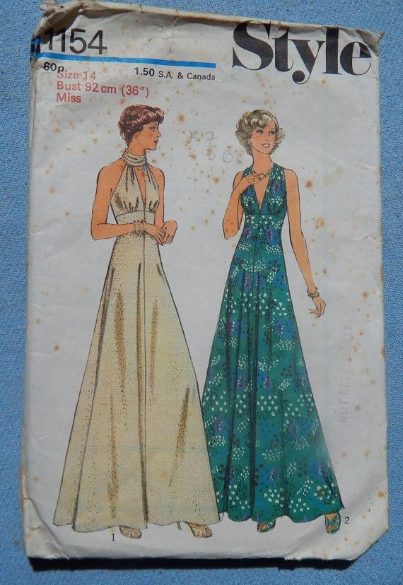 1970s Dress Style 1154 sewing pattern size 14 by chicpatternstudio