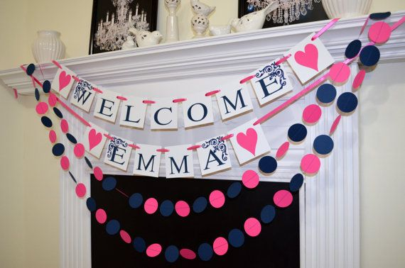 Welcome Home Banner Sign With Paper Circle Garlands! A Great Way To  Decorate Your Home