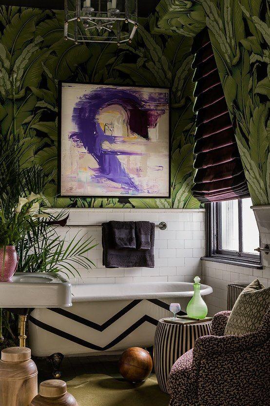 chevron tub, art on heavy patterned wallpaper, Petit Chouchou