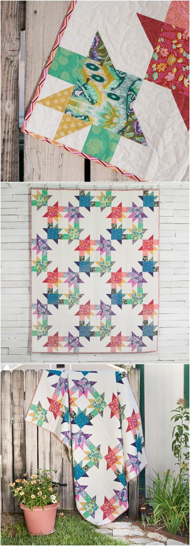 Hot House Quilt Kit by Craftsy by Stacey Day featuring FreeSpirit True Colors by Tula Pink. #modernquilting #tulatroops #tulapink affiliate link.