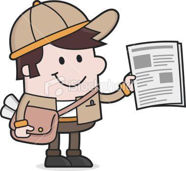 cartoon Newspaper delivery Boy / Newsletter Royalty Free Stock Vector Art Illustration