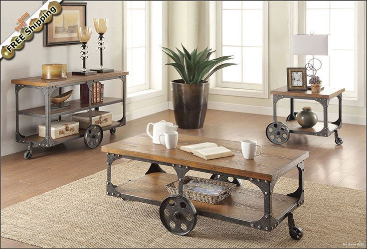 Rustic Coffee Table, Side End Tables or Console TV Stand - Antique Country Set #WildonHome #Country