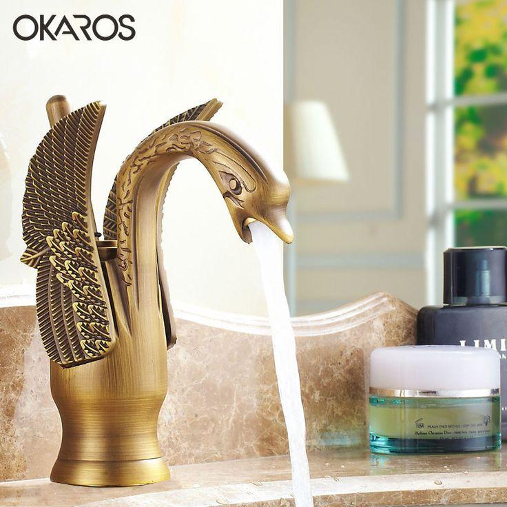OKAROS Luxury Bathroom Basin Faucet Brass Golden Polish Swan Shape Single Handle Hot&Cold Water Vanity Sink Mixer Tap 2016 New - ICON2 Luxury Designer Fixures  OKAROS #Luxury #Bathroom #Basin #Faucet #Brass #Golden #Polish #Swan #Shape #Single #Handle #Hot&Cold #Water #Vanity #Sink #Mixer #Tap #2016 #New