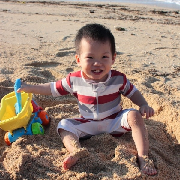 First time playing with sand
