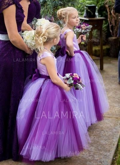 cada38d0281  US  83.69  Ball Gown Square Neckline Ankle-length With Sash Bow(s) Satin Tulle  Flower Girl Dresses (010146698)