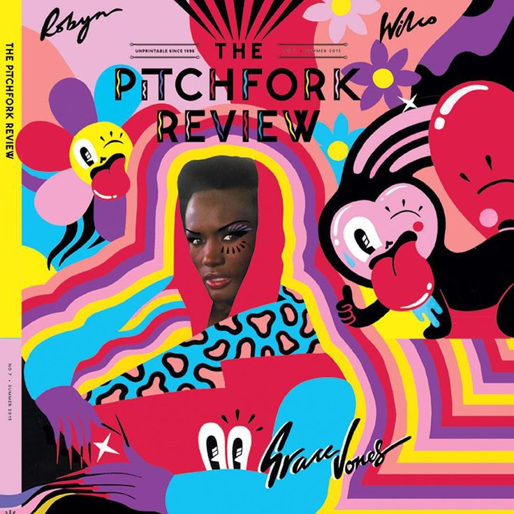 I recently got to illustrate around the incomparable #gracejones for the new cover of @thepitchforkreview ! ☝️❤️ such an honour and I'm excited to finally share it! It's a big pull out cover so I'll share the rest when I get my hands on the physical copy ✨ party #pulluptomybumpercoverbaby