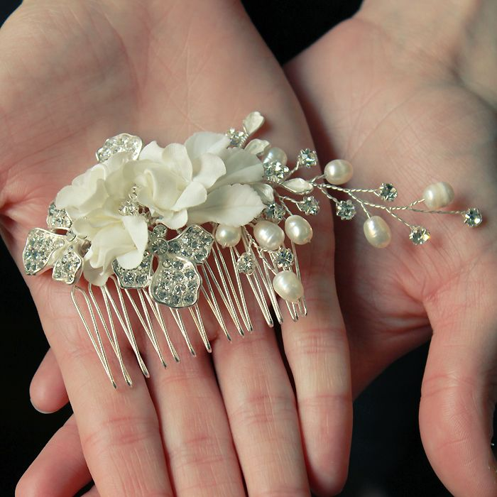 beautiful silk flower bridal hair comb with pearl clusters £35