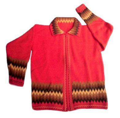 rote damen strickjacke mit zackenmuster peruanische alpakawolle shoppen damenmode pinterest. Black Bedroom Furniture Sets. Home Design Ideas