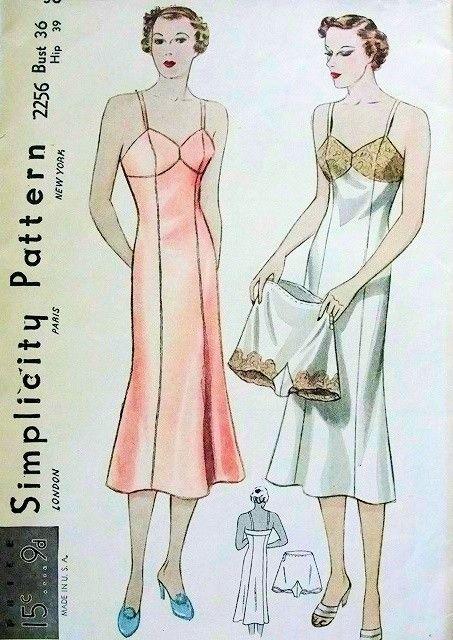 1930s Lingerie Slips Tap Panties Pattern Simplicity 2256 Beautiful Bias Princess Slip Fitted Top, Side Button Panties  Bust 36 Vintage Sewing Pattern