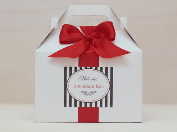 6 Elegant Wedding Welcome Box Sets - White Gable Boxes - Out of Town Guest Boxes -  Personalized Boxes - Custom Boxes - Choose Your Colors