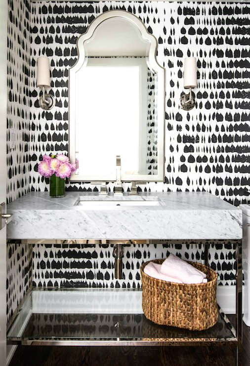 Good Wallpaper For Powder Room Ideas Part - 8: Best 25+ Powder Room Wallpaper Ideas On Pinterest | Powder Rooms, Half Bathroom  Wallpaper And Powder Room Vanity