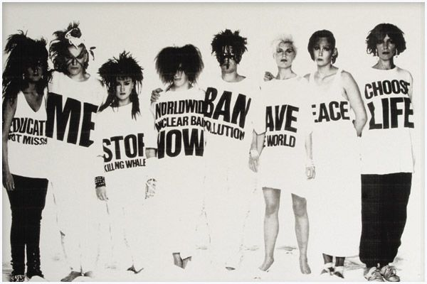 The politics of the '80s were soon shown via pop stars Wham! when they adopted the designs of British designer Katherine Hamnett and her memorable t-shirt: Choose Life. Hamnett had created a series...