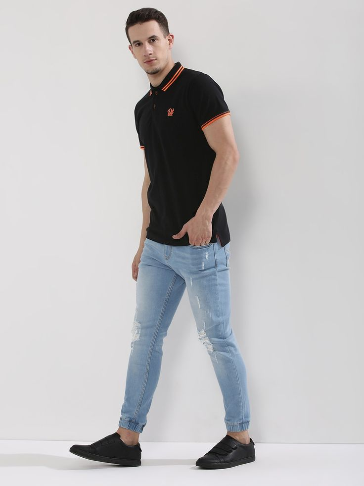 Buy BREAKBOUNCE Tipped Polo With Logo Embroidery For Men - Men's Black Polo Shirts Online in India