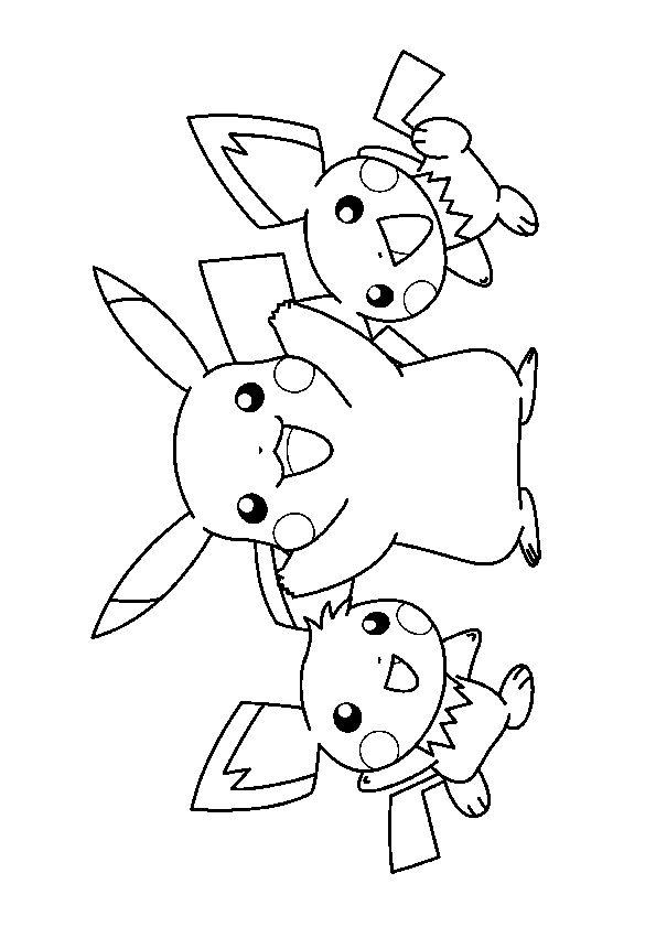 Coloriage rigolo de pikachu accompagn de deux pichus tout - Jeux et coloriage ...