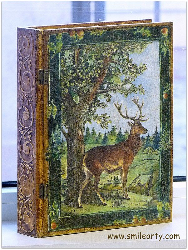 MDF book box with decoupage