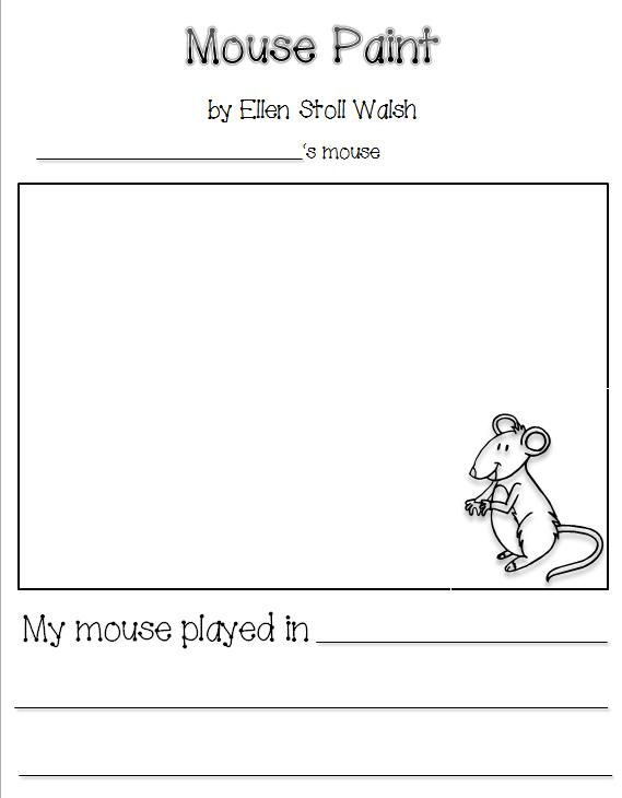By Jessica Gilmore: Worksheet for Preschool (Mouse Paint)