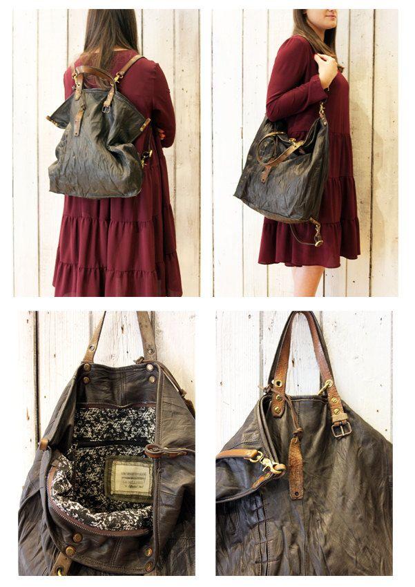 ALLEGRA BAG\BACKPACK , Handmade vintage Italian Leather Tote Bag di LaSellerieLimited su Etsy