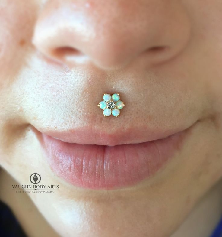 Mireya's philtrum has healed up wonderfully, and thanks to this beautiful piece she chose from anatometal, it couldn't look any prettier. Six white opals with a CZ center accent, set in 18k yellow gold. The look on her face when she saw it in the mirror is what makes us piercers grin ear to ear. Thanks so much, Mireya!vaughnbodyartsMonterey, CA