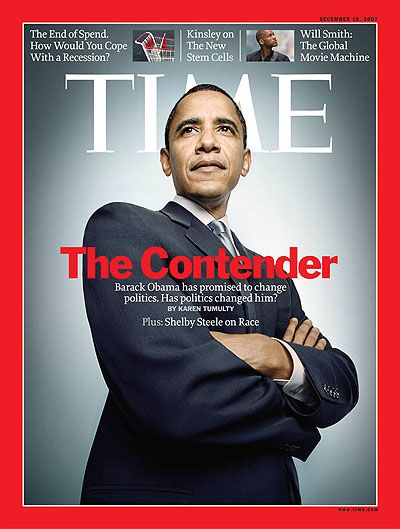 "Barack Obama with crossed arms - ""TIME Magazine Cover: The Contender - Dec. 10, 2007"""
