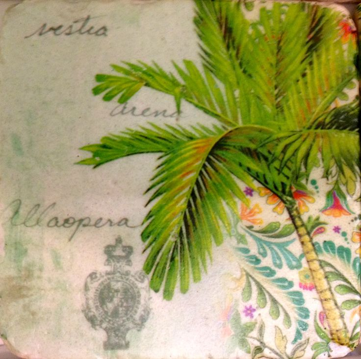 Coaster - tropical palm tree look.  Lovely shades of spring.