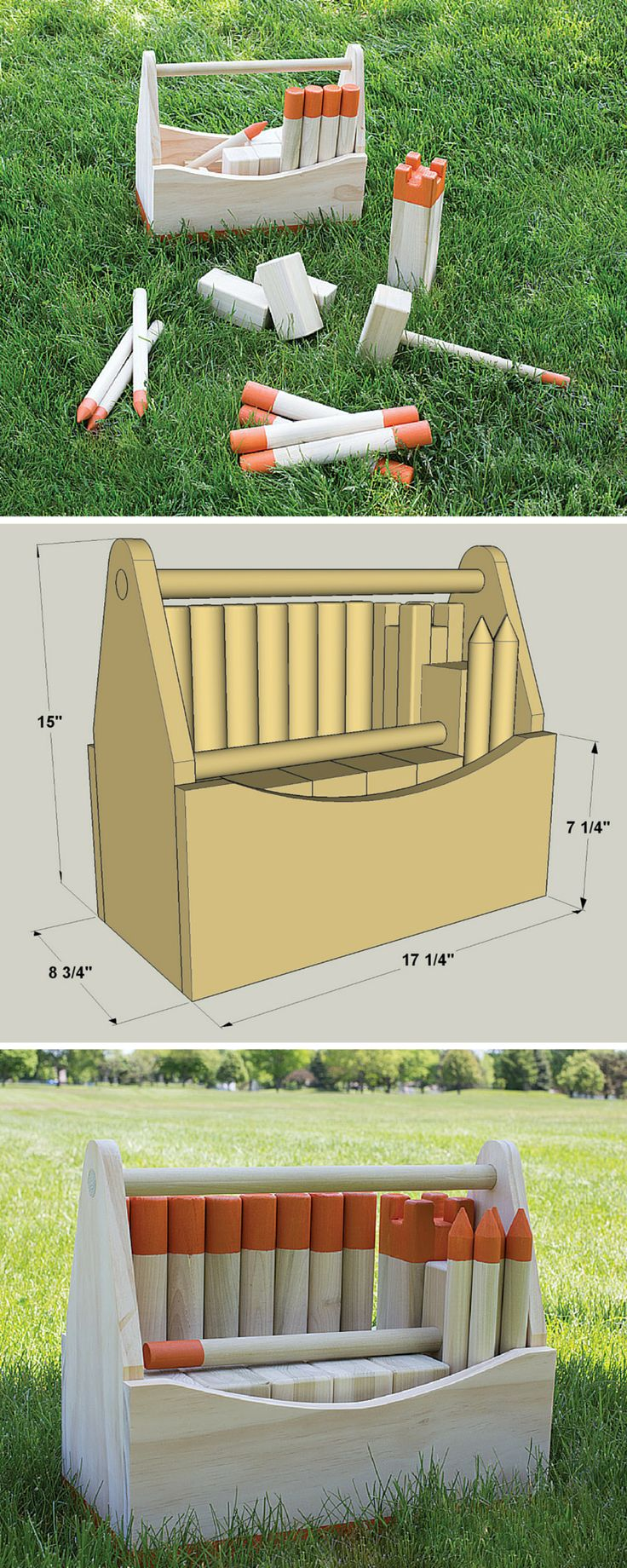 """This fun, challenging outdoor game (pronounced """"koob"""") reportedly dates back to the Viking Ages. Today, it's more popular than ever, for good reason. Our version is fun to build from simple materials, too, and includes a carrying box. We've even include links to official rules in the """"extras"""" tab. Download the free DIY plans at buildsomething.com"""