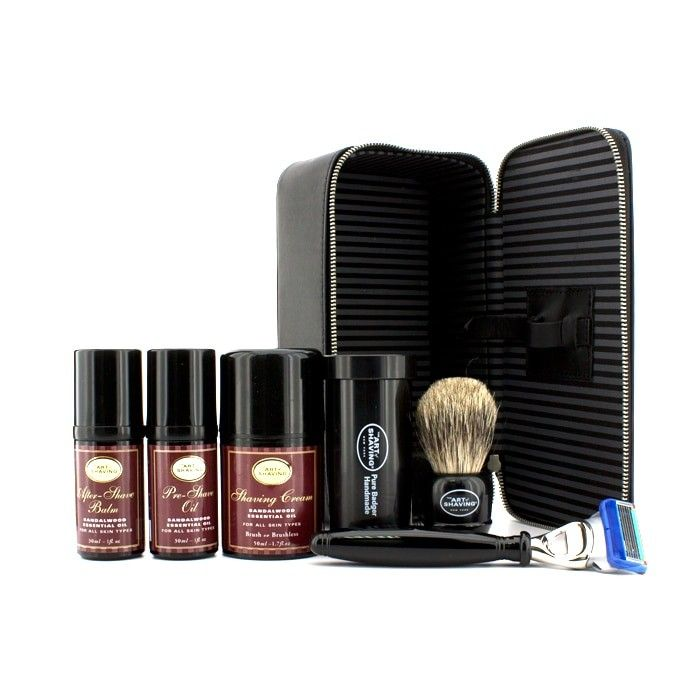 The Art Of Shaving - Дорожный Набор (Сандал): Бритва + Кисть для Бритья + Масло до Бритья 30мл + Крем для Бритья 45мл + Бальзам после Бритья 30мл + Футляр 5pcs+1case