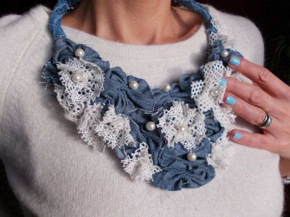 Boho denim and lace necklace. Upcycled Denim Necklace. Bib Necklace. Jeans Jewelry. Bohemian necklace. Recycled Jeans on Etsy, $27.72 AUD