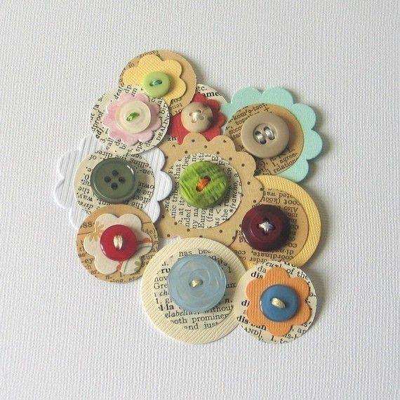 Paper and Button Papercrafting Embellishments. Make these with Bazzill cardstock and Bazzill Antique Paper.
