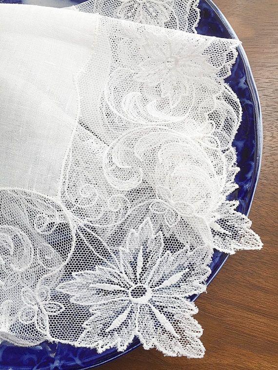 Vintage Lace Bridal Hankie Bridal Handkerchief by vintagebiffann