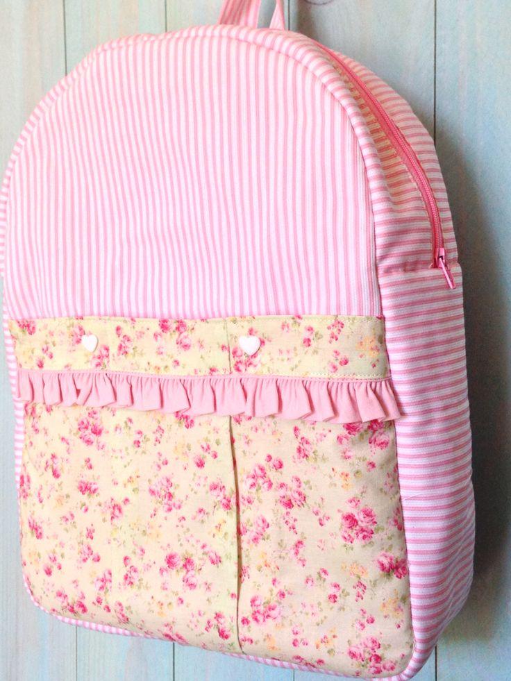 Backpack, Mochila, girl, pink, handmade, patternt , diy, kit, sewing