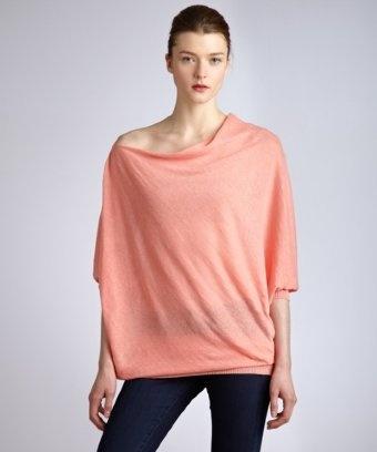 Cullen.... soft coral linen asymmetrical cowl neck sweater    Cullen:  soft coral linen asymmetrical cowl neck sweater