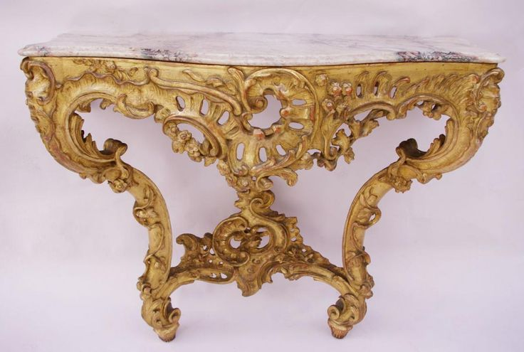 #Console #LouisXV #style in carved #giltwood. Beige #marble top. #19th Century. For sale on #Proantic by Jean-luc Ferrand.