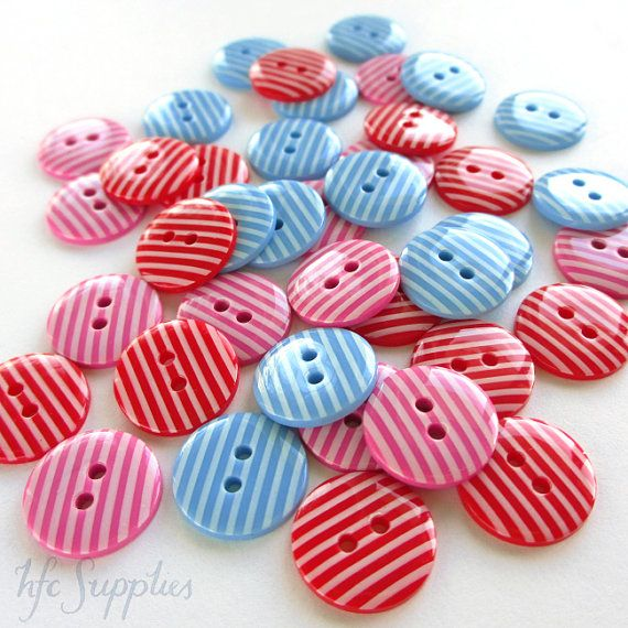 20 bright Striped Buttons - 16mm, 5/8 inch