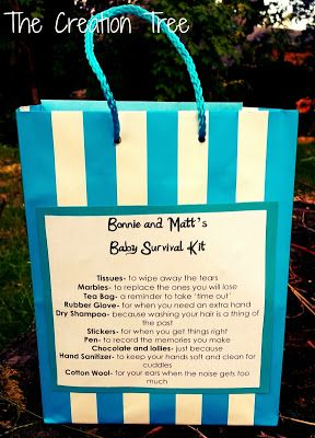Gifts for new mums. Baby Survival Kit. Baby Shower Gift. Gift for new dads. Email if you want a printable list of what's in the kit.