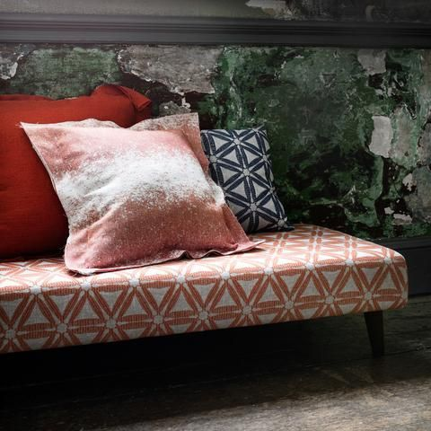 F1053/04 - Raspberry | This distinctive collection of decorative weaves features Ikat influences, striking geometric designs and chunky stitch detail | Buy online