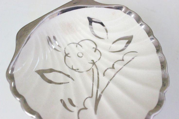 Vintage Lancasters Hanley England Shell Trinket Dish English Ware Platinum Trim Flower Design Vanity White Silver Floral Key Change Holder by IguanaFindIt on Etsy