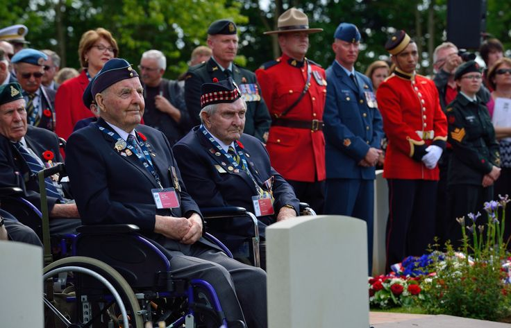 Canadian D-Day veterans Lloyd Bentley (left) and Earl Jewers (right) attend the 70th anniversary of D-Day and the Battle of Normandy ceremony