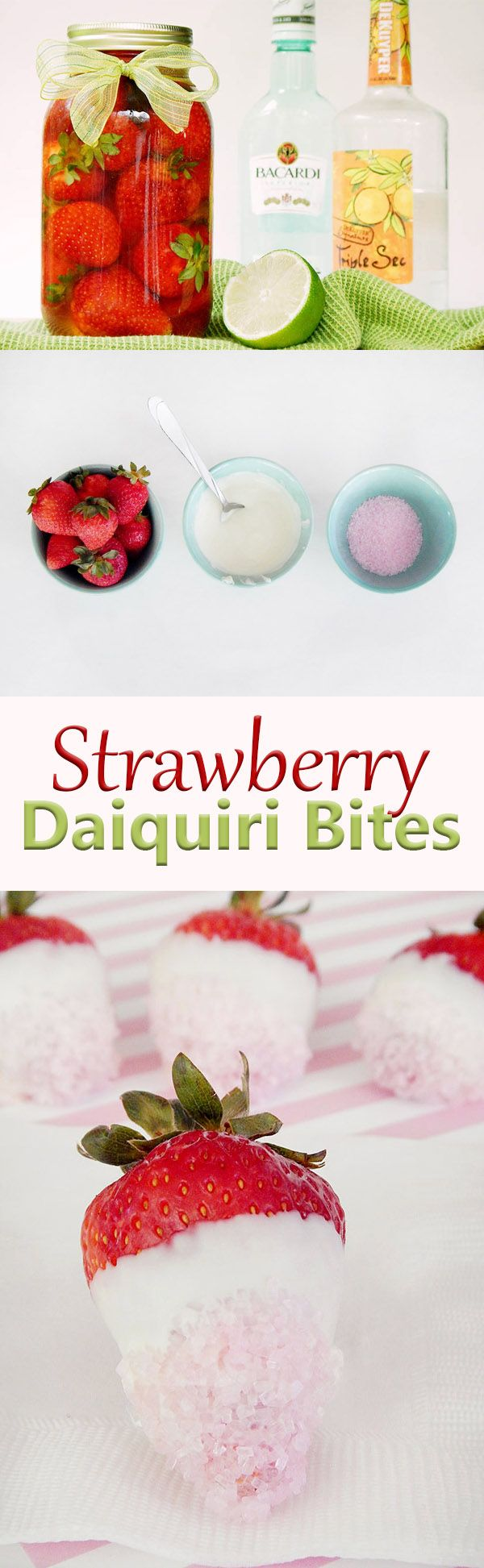 Strawberries soaked in rum, triple sec, and a splash of fresh lime juice then dipped in white chocolate and sparkling sugar. Strawberry Daiquiri Bites are perfect for picnics, parties, bachelorette celebrations, and more! Unique shots.