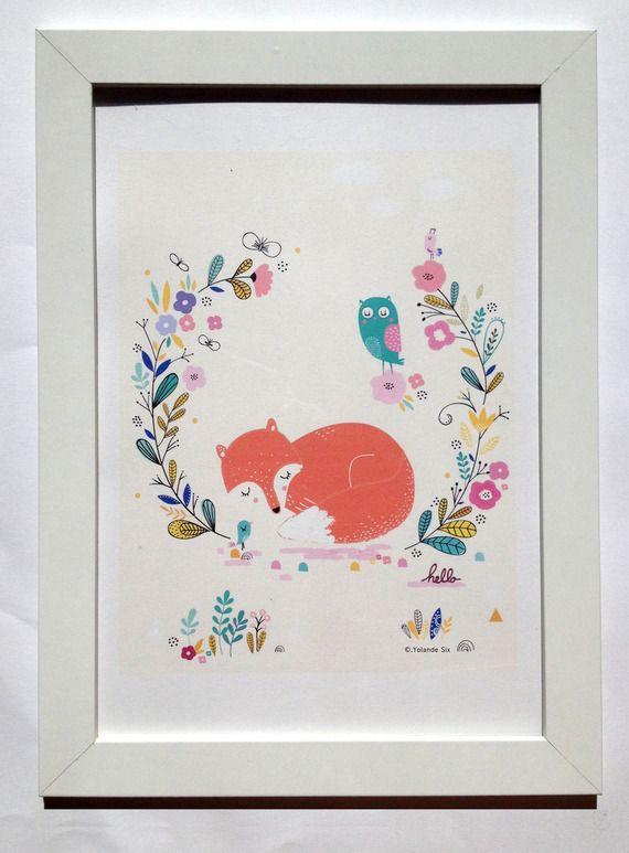 Affiche renard illustration pour chambre d 39 enfant - Illustration chambre bebe ...