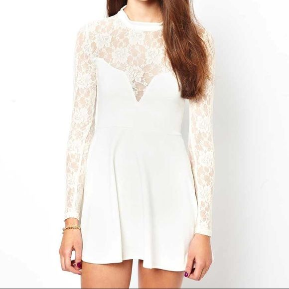 FL&L Tarot Dress Size L NWT For Love & Lemons Tarot Dress in Ivory with lace detail, size Large. ✨No Trades✨ For Love and Lemons Dresses Mini