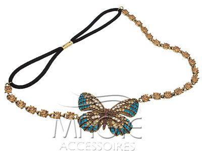 Бирюзовая узкая повязка на волосы с декоративным элементом (бабочка). Металл, Кристаллы Swarovski.