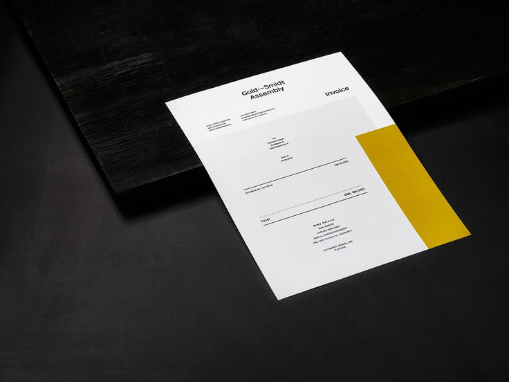 Brand identity and invoice by Copenhagen design studio Republic for pop-up art gallery Gold—Smidt Assembly