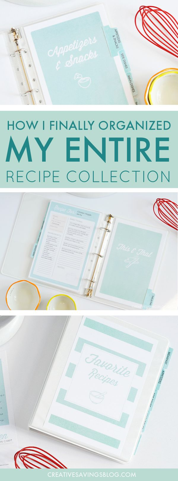 I am in LOVE with this recipe binder to organize my recipes! It literally saved my sanity, and to think—I put this project off so long because I was too overwhelmed! I'm not joking when I say I had dozens of cookbooks and loose papers sticking out everywhere. Ha! This binder is exactly what I needed, plus, it comes as a printable kit, so all you have to do is assemble with the step-by-step guide. OH, and did I mention how pretty it is??? Swoon!