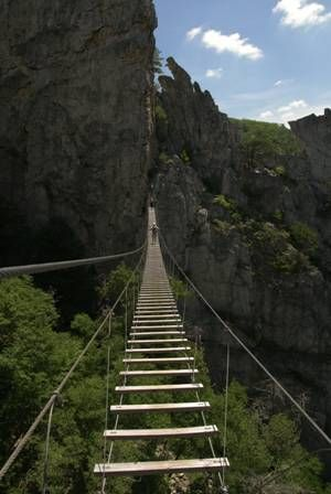 View from a suspended bridge along the Via Ferrata near Seneca Rocks, West Virginia. ---if this is seriously in WV we should go! Unless its on the Ohio border, then it'd be too long of a drive.